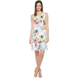 TOMMY BAHAMA WHITE SLEEVELESS FLOWER PRINT DRESS